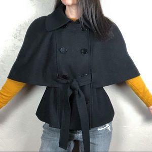 Mossimo Black Wool Capelet Coat